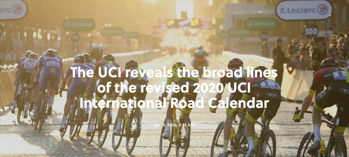 Важно съобщение от заседанието на ръководители и организатори относно преразглеждането на шосейния календар на UCI за 2020!